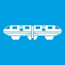 Monorail Train Icon White Isol...