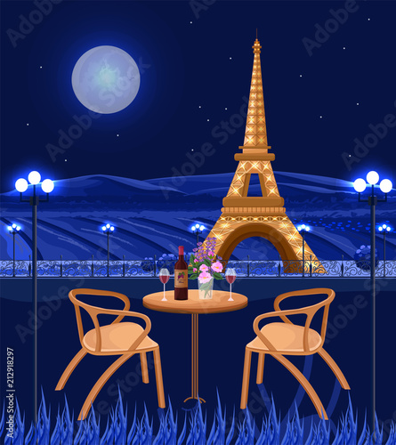 Photo Romantic cafe with Eiffel Tower view
