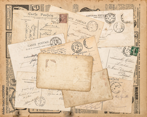 Vintage postcards handwritten letter Used paper background