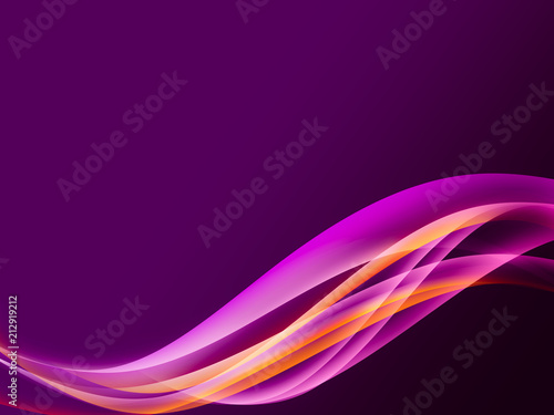 Keuken foto achterwand Fractal waves Abstract header color wave design element with purple lighting effect. Purple line and wave.
