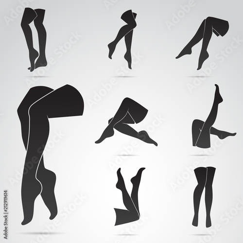 Photographie Legs of woman - vector icon set. Different poses.