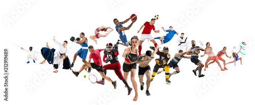 фотографія  Sport collage about kickboxing, soccer, american football, basketball, ice hocke