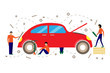 Creative vector illustration of service for repair of cars.