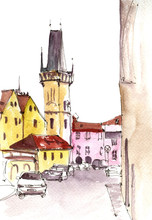 Watercolor Sketch Of City Street