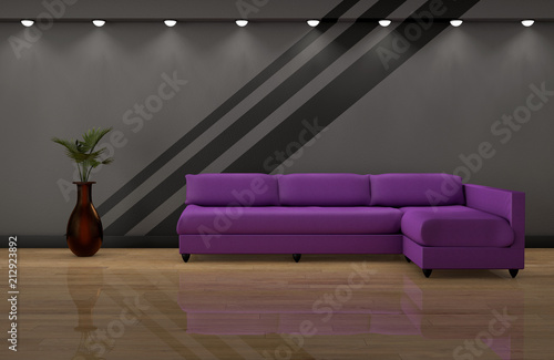 Purple sofa on wood flooring and dark grey wall 3d rendering - Buy ...