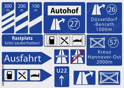 Fotografía  deutsche Autobahnschilder, Sammlung, Vektorgrafik eps 10