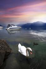 Lake Geneva At Sunset, Montreux, Riviera-Pays-d'Enhaut, Vaud, Switzerland