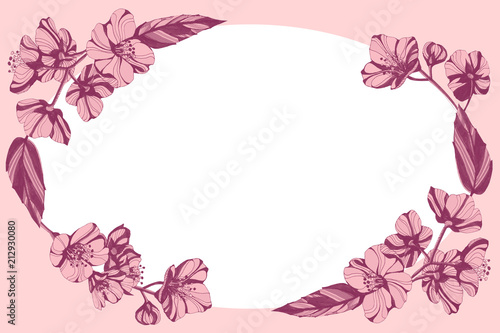 Photo  Awesome jasmin flowers frame. Hand drawn ink illustration.