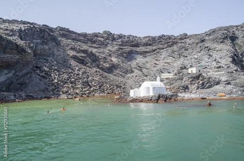 Island Palea Kameni and hot mineral springs, Santorini