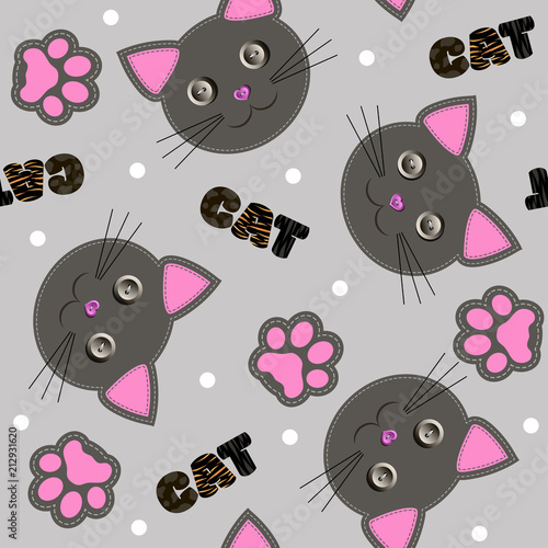 Children's seamless pattern with cartoon cat faces and paws. Vector illustration.