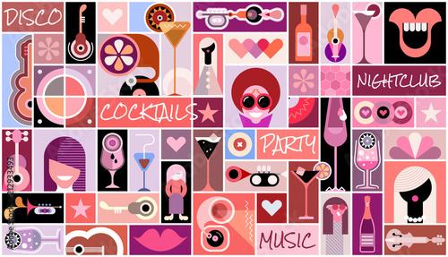 Staande foto Abstractie Art Disco Party pop art collage