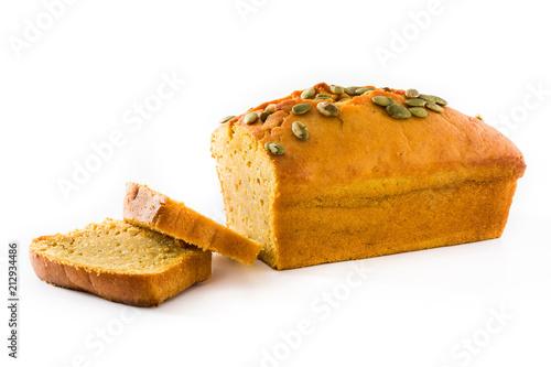 Fotografia Homemade pumpkin bread isolated on white background