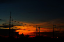 Silhouette Of Power Electric L...