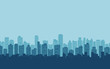 silhouette of city skyline, Cityscape in blue color background and flat icon design