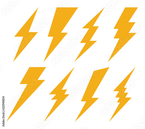Creative vector illustration of thunder and bolt lighting flash icon set isolated on transparent background Canvas-taulu