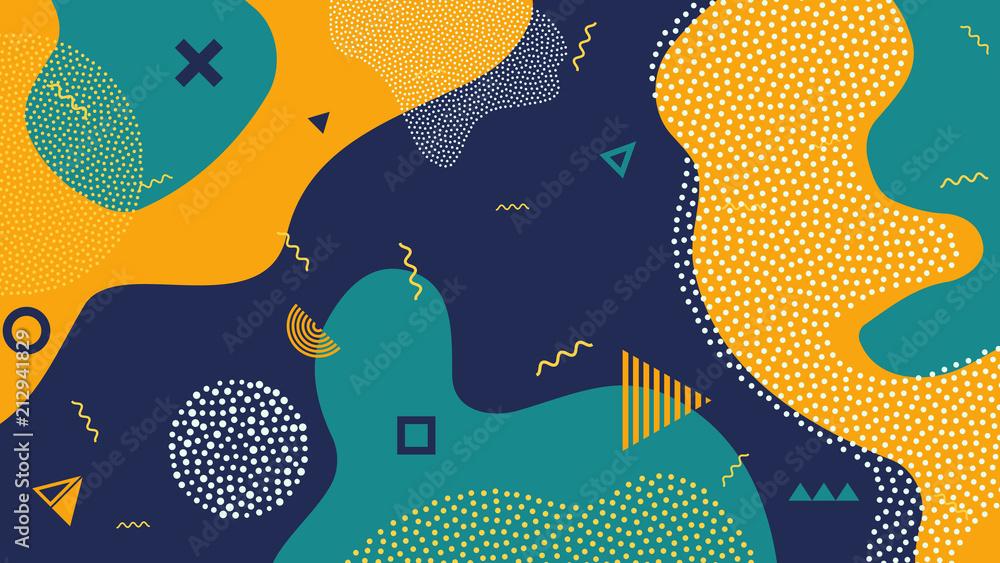 Fototapeta Creative vector illustration of children cartoon color splash background. Art design trendy 80s-90s memphis style. Geometric line shape pattern. Abstract concept graphic playground banner element