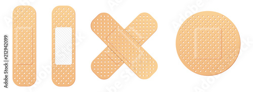 Fotografering Creative vector illustration of adhesive bandage elastic medical plasters set isolated on transparent background