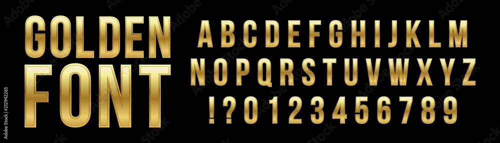 Fototapety, obrazy: Creative vector illustration of golden glossy font, gold alphabet, metal typeface isolated on transparent background. Art design luxury metallic typographic abc. Abstract concept graphic element.