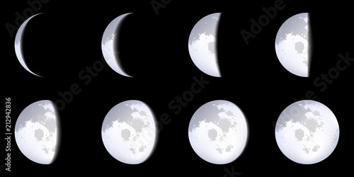 Creative vector illustration of realistic moon phases schemes isolated on transparent background Canvas Print