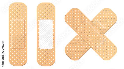 Canvas-taulu Creative vector illustration of adhesive bandage elastic medical plasters set isolated on transparent background