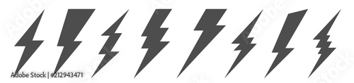 Valokuvatapetti Creative vector illustration of thunder and bolt lighting flash icon set isolated on transparent background