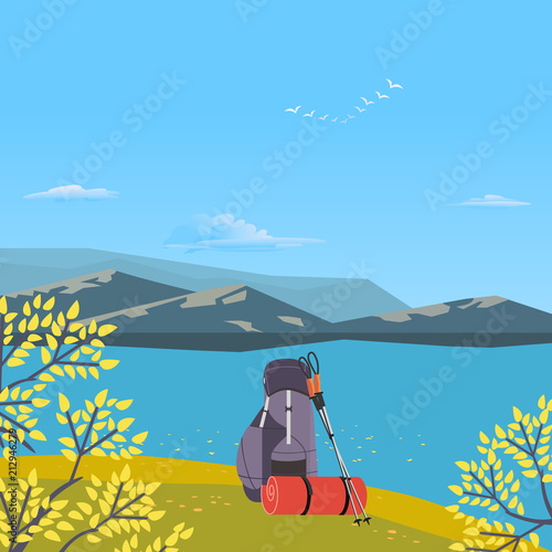 Autumnal Hiking Poster Go On Autumn Fall Hike Time For Hiking Trip Design Element In Retro Color Adventure Journey Symbols Backpack Trekking Poles Tourist Banner Background Vector Illustration Buy This Stock