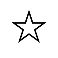 Star Icon, Classic Form, Outline Variant. Easily Colorable Vector Design On Isolated Background.