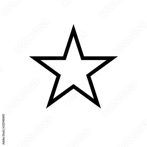 Obraz Star icon, classic form, outline variant. Easily colorable vector design on isolated background. - fototapety do salonu