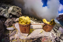 Baskets Full Of Sulfur Ore At ...