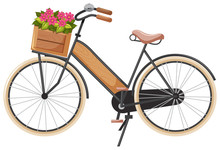 Floral Wooden Bike Basket