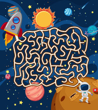 Astronaut In Space Maze Puzzle Game