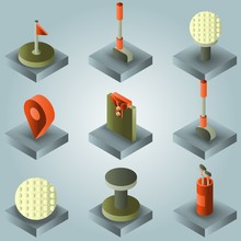 Golf Color Gradient Isometric Set