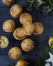 Mince Pies On Cooling Rack Wit...