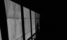 Shadow From Glass Window On Marble Wall In The Room - Monochrome