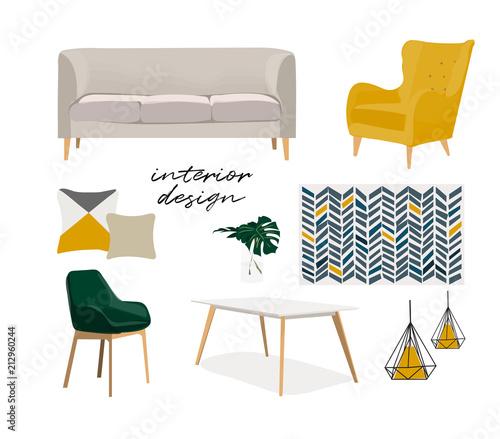 modern interior design vector illustration Fotobehang