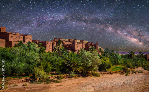 Poster Maroc Kasbah Ait Ben Haddou in the desert near Atlas Mountains at night, Morocco