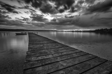 Black And White Landscape With...