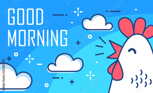 Foto Good Morning poster with clouds and cock on blue background