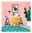 vector interior design illustration. office study picture. chair, desk and lamp. cute drawing. furniture.