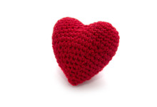 Knitted Red Heart Isolated On A White Background