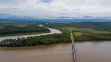Beautiful Aerial View Of The Taiwan Friendship Bridge In Costa Rica