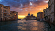 Grand Canal at sunrise in Venice, Italy. Sunrise view of Venice Grand Canal. Architecture and landmarks of Venice. Venice postcard