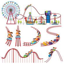 A Set Of Fun Park Roller Coaster