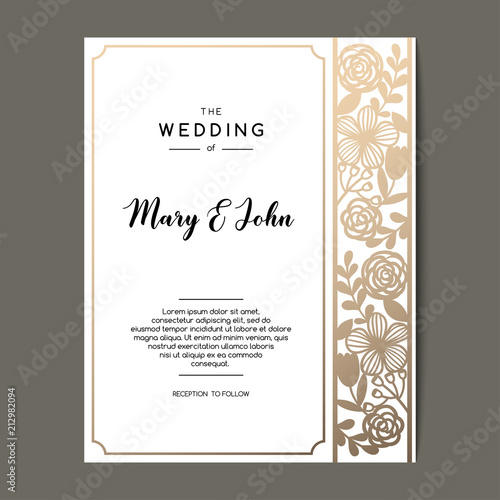 Fototapety, obrazy: Elegant wedding invitation background with floral ornament. Vector greeting card design with golden border.