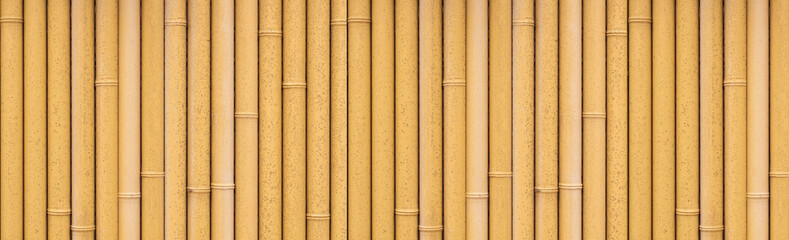Panorama of bamboo fence background and pattern