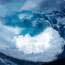 Ocean Waves Vector Background, Sea Foam During Storm.