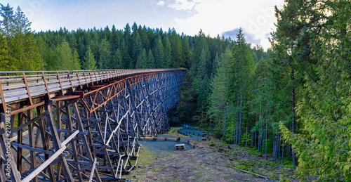 Valokuvatapetti Panoramic view of Kinsol Trestle railroad bridge in Vancouver Island