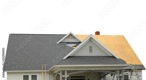 Fotografia, Obraz isolated view of new roof construction