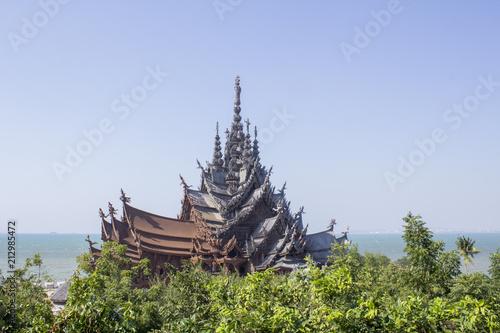 Spoed Foto op Canvas Bedehuis Temple of Thailand, Sanctuary of Truth, (Prasat Sut Ja-Tum)