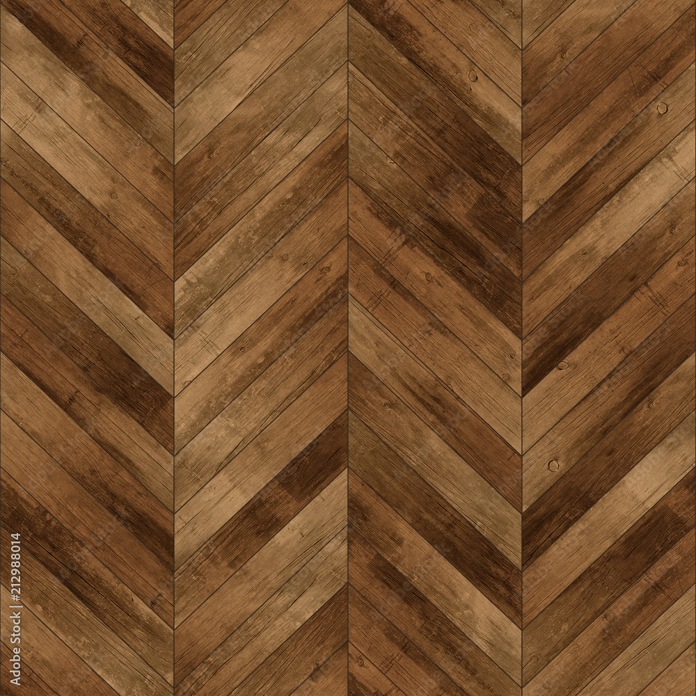 Seamless wood parquet texture (chevron dark brown) - obrazy, fototapety, plakaty